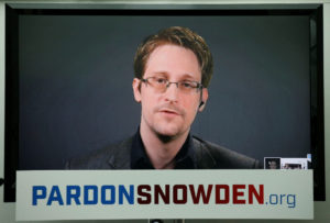 Edward Snowden speaks via video link during a news conference in New York City, U.S. September 14, 2016.  REUTERS/Brendan McDermid